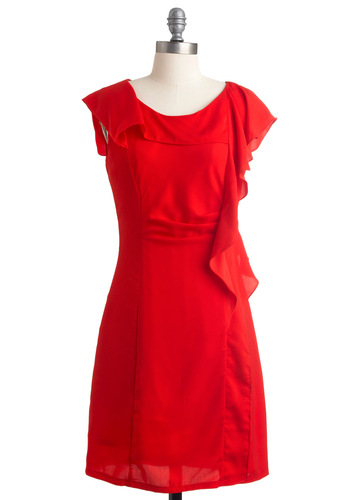 What a Woman Dress - Mid-length, Red, Solid, Ruffles, Shift, Cap Sleeves, Party