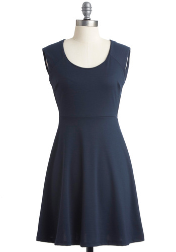 Love is Every Wear Dress - Blue, Solid, Exposed zipper, A-line, Sleeveless, Casual, Backless, Fall, Short, Girls Night Out, Fit & Flare
