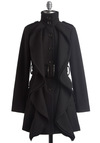 Frill Sergeant Coat - Long, Black, Solid, Buckles, Buttons, Pockets, Ruffles, Long Sleeve, Military, Epaulets, Winter, 2.5