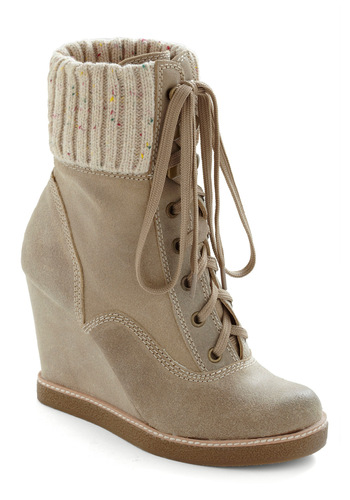 City by the Beige Boot - Casual, Tan, Solid, Knitted, Winter