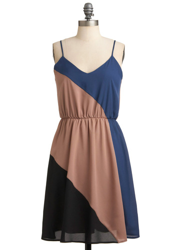 Slant and Rave Dress - Mid-length, Black, Solid, A-line, Spaghetti Straps, Tan, Blue