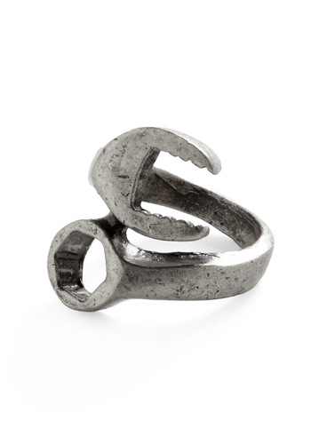 Torque Guide Ring - Silver, Solid, Casual, Steampunk