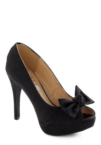 Dressy and Adorable Heel - Black, Solid, Bows, Prom, Wedding, Party