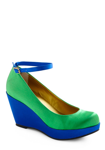Wonder Wedge by BC Footwear - Green, Buckles, Party, Statement, Blue, Wedge