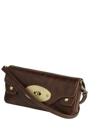Keep on Movin' Wallet - Brown, Gold, Pockets, Studs, Party, Work, Casual