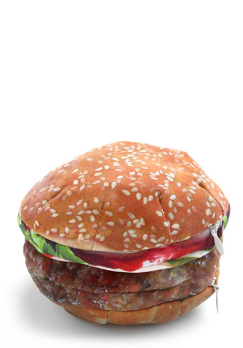 You and Meal Pouch in Burger by Decor Craft Inc. - Tan, Multi, Casual