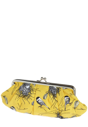 Chickadee Delight Clutch - Yellow, Black, White, Print with Animals, Pleats, Casual