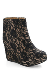 In Your Good Laces Wedge by Jeffrey Campbell - Black, Tan / Cream, Lace, Party, Luxe, Floral
