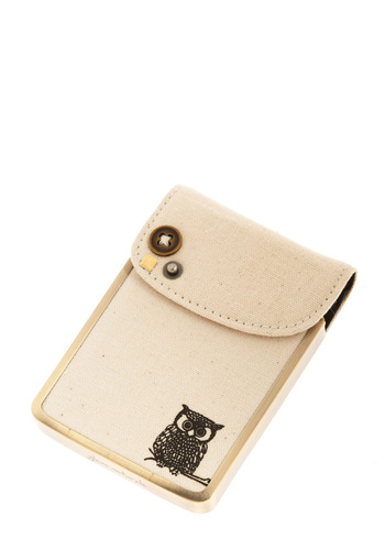 Owl Contact You Card Holder - Cream, Print with Animals, Buttons, Owls