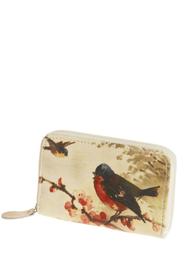 Tweet Affection Wallet by Disaster Designs - White, Red, Green, Brown, Print with Animals, Novelty Print