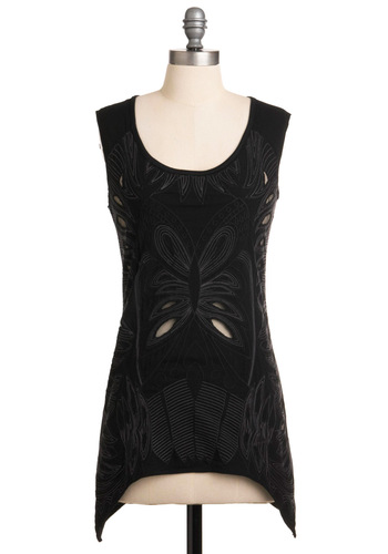 Trace To the Finish Tunic - Black, Cutout, Sleeveless, Solid, Embroidery, Casual, Long