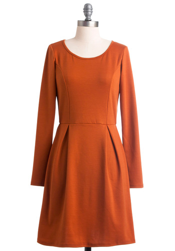 Cinnamon Amie Dress - Mid-length, Orange, Solid, Pleats, A-line, Long Sleeve, Casual, Fall, Scoop