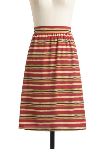 Ruled the Roost Skirt - Mid-length, Multi, Tan / Cream, Black, Stripes, Red, Yellow, Purple, Casual, A-line, Fall