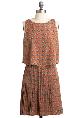 Reminisce with Me Dress - Mid-length, Orange, Green, Print, Pleats, A-line, Sleeveless, Casual, Vintage Inspired, Pink, Grey, Fall, 20s, 30s