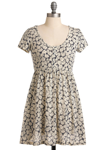 Meadow Fun Dress by Mink Pink - Short, Floral, A-line, Short Sleeves, Blue, Casual, White, 90s, Empire, Spring