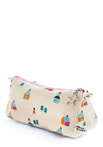 Safe Keepings Pouch in Acre by Shinzi Katoh - Cream, Orange, Blue, Pink, Novelty Print, Casual