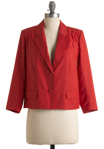 Awe for One Blazer by BB Dakota - Red, Orange, Buttons, Pockets, 3/4 Sleeve, Solid, Work, Short, Spring, 1.5, Press Placement