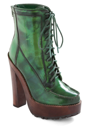 Betsey Johnson Forest Forge Ahead Boots by Betsey Johnson - Green, Brown, Solid, Casual, Military, 90s, Winter