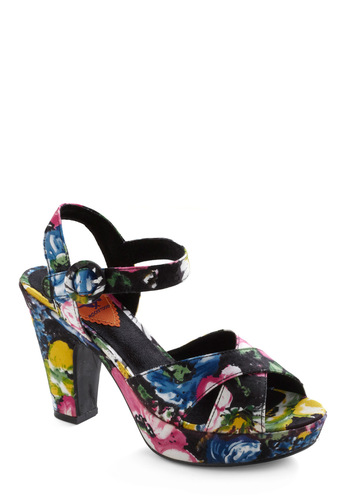 My Bouquet List Heel - Party, Blue, Pink, Floral, Buckles, Multi, Yellow, Green, Black, Summer