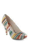 Bend the Ruled Heel - Multi, Red, Orange, Yellow, Green, Blue, Purple, Brown, Stripes, Casual, White