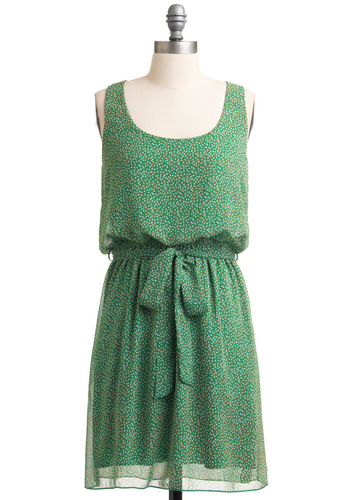 Vibrantly Verdant Dress - Mid-length, Green, Brown, White, Print, Sheath / Shift, Casual, Tank top (2 thick straps)