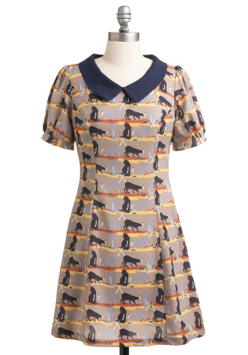 Cats the Ticket Dress - Casual, 60s, Print with Animals, Sheath / Shift, Short Sleeves, Multi, Orange, Yellow, Blue, Tan / Cream, Short