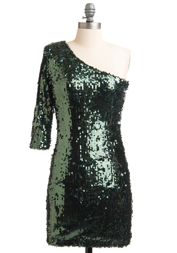 West Village Fete Dress - Party, Statement, Green, Sequins, Special Occasion, Shift, One Shoulder, Short