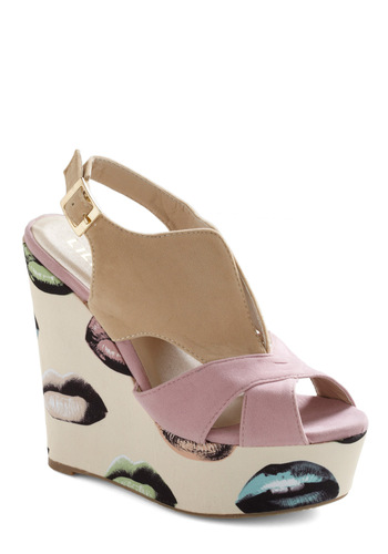 Kicks and Tell Wedge - Green, Blue, Pink, Tan / Cream, Buckles, Statement, Cream, Multi, Novelty Print, Party, Pink, Wedge