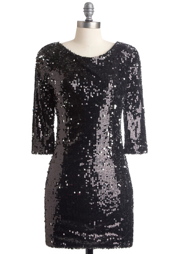 Just in Times Square Dress - Party, Statement, Black, Solid, Sequins, Shift, Long Sleeve, Short