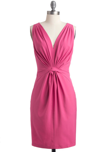 My Savoir-Faire Lady Dress - Mid-length, Pink, Solid, Pockets, Shift, Sleeveless, Wedding, Cocktail, V Neck