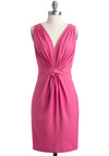 My Savoir-Faire Lady Dress - Mid-length, Pink, Solid, Pockets, Sheath / Shift, Sleeveless, Wedding, Cocktail, V Neck