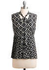 Lattice Get Together Top - Mid-length, Work, Black, Grey, White, Print, Bows, Sleeveless