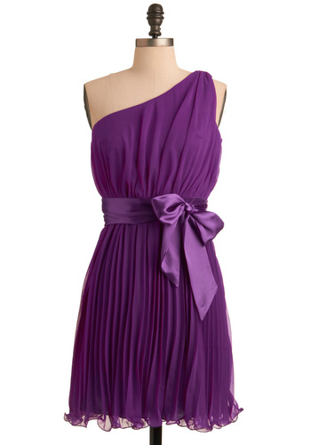 Aren't You Precious Dress in Amethyst - Mid-length, Purple, Solid, Pleats, One Shoulder, Bows, Ruffles, A-line, Wedding, Party