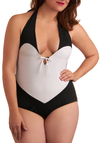 She and Swim One Piece in Plus Size - Black, White, Solid, Bows, Halter, Summer