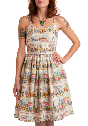 Year Abroad Dress by Bernie Dexter - Multi, Red, Yellow, Green, Blue, Pink, Black, Novelty Print, Casual, A-line, Spaghetti Straps, Spring, White, Long, Cotton, French / Victorian, Fit & Flare, Travel