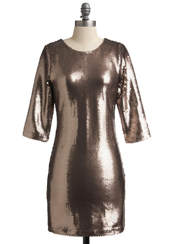 Sparkling Toast Dress by BB Dakota - Gold, Sequins, Party, Mini, Sheath / Shift, 3/4 Sleeve, Special Occasion, 80s, Winter, Short