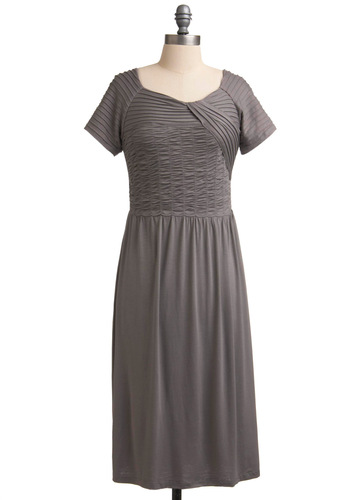 Musical Walk-Through Dress - Long, Casual, Grey, Solid, Pleats, Sheath / Shift, Short Sleeves, Fall