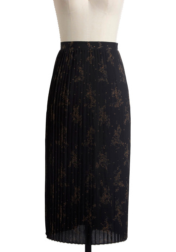 Pleats Care for the Plants Skirt - Long, Casual, Black, Brown, Floral, Pleats, Maxi