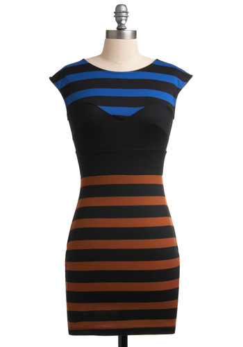 Mesmerize Your Lines Dress - Blue, Stripes, Cap Sleeves, 80s, Multi, Brown, Black, Party, Sheath / Shift, Short, Girls Night Out, Bodycon / Bandage