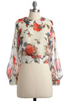 Bouquet We Go Top - Short, Red, Green, Blue, Floral, Bows, Peter Pan Collar, Long Sleeve, Casual, Boho, White, Multi, Spring