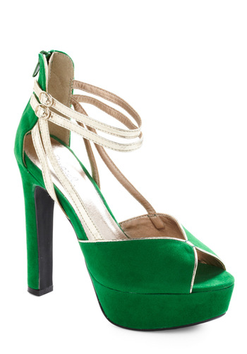 Lady Charm-alade Heel - Green, Solid, Party, Pinup, Statement, Gold