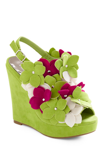 Cupid Island Wedge - Green, Pink, White, Solid, Flower, Party, Statement, Summer, Wedge