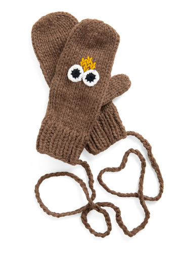 Take to the Windchill Mittens - Winter, Brown, Solid