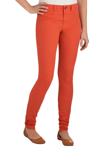 Poppy and Paste Pants by BB Dakota - Orange, Solid, Pockets, Casual, Spring, Mid-length