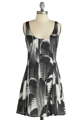 Flight For Your Right Dress by BB Dakota - White, Print, A-line, Sleeveless, Casual, Mid-length, Multi, Black