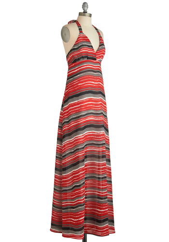 Greeted Under the Veranda Dress by BB Dakota - Black, Grey, White, Stripes, Maxi, Halter, Multi, Cutout, Casual, Summer, Long, Red, Print