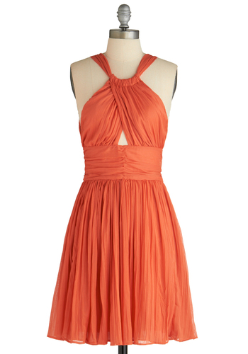 Sunset Seeker Dress by BB Dakota - Orange, Solid, Cutout, A-line, Halter, Party, Spring, Short