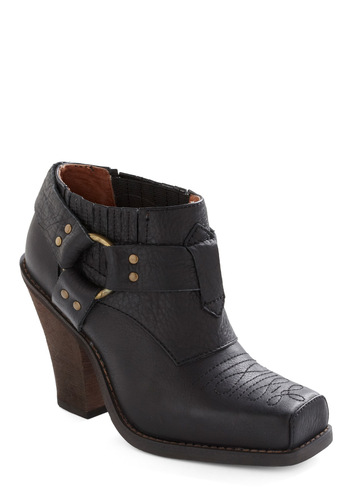 Roam on the Range Bootie by Jeffrey Campbell - Casual, Black, Solid, Embroidery, Studs, Leather, High