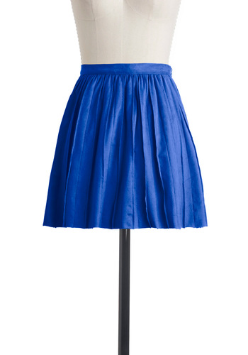 Cute En Route Skirt in Royal Blue - Short, Blue, Solid, Exposed zipper, Pleats, Party, A-line, Mini