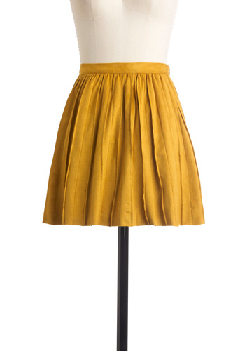 Cute En Route Skirt in Goldenrod - Short, Yellow, Solid, Exposed zipper, Pleats, Boho, Party